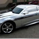 Chevrolet Camaro wrapped in chrome vinyl