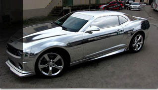 Chevrolet Camaro wrapped in chrome vinyl - Muscle Cars Blog