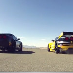 ZR1 versus C6.R racer in Corvette Drag Race