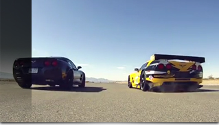 ZR1 versus C6.R racer in Corvette Drag Race - Muscle Cars Blog