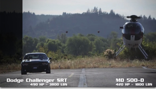 Dodge Challenger SRT8 vs. MD500 helicopter - Muscle Cars Blog