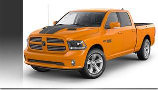 2015 Ram 1500 Ignition Orange Sport Crew Cab Front Angle