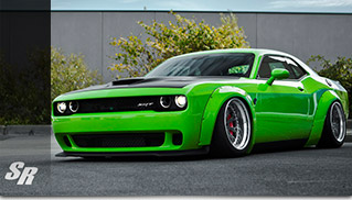2015 Liberty Walk Dodge Challenger Hellcat Green Front Angle