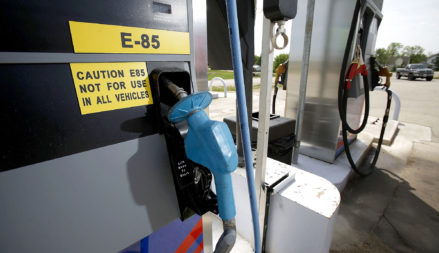 BELMONT, WI - MAY 10:  A sign about E85 fuel hangs on a fuel pump fuel prices at Capital Mini Mart May 10, 2007 in Belmont, Wisconsin.  E85, a blend of % ethanol and 15% gasoline, is typically sells twenty to thirty cents lower at the pumps, but can only be used in designated flex-fuel cars.  (Photo by Mark Hirsch/Getty Images)