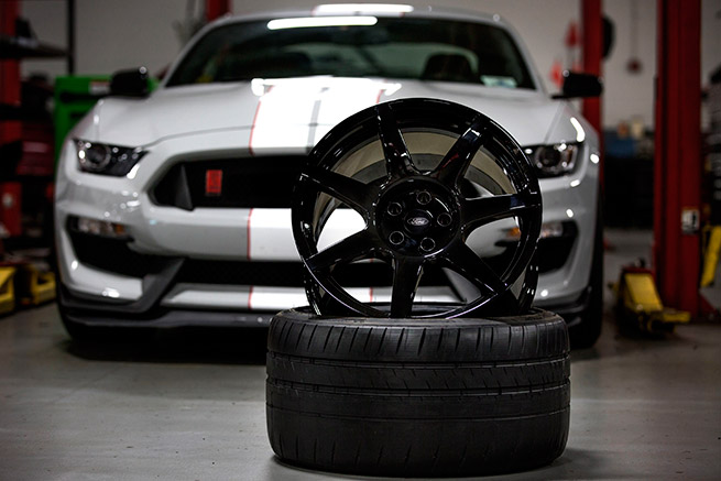 Shelby GT350R carbon fiber wheel rear view